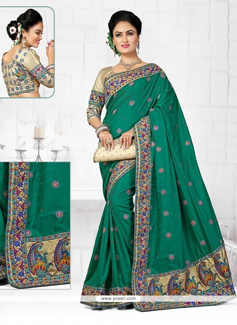 Irresistible Embroidered Work Sea Green Designer Traditional Saree