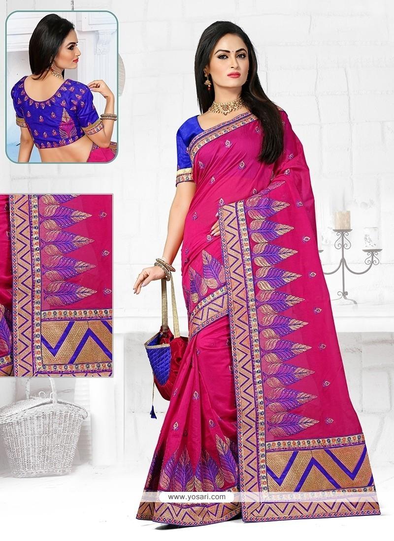 Excellent Patch Border Work Chanderi Designer Traditional Saree