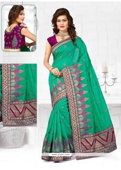 Extraordinary Sea Green Chanderi Designer Traditional Saree