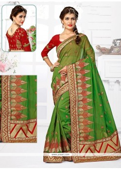 Elegant Patch Border Work Green Designer Traditional Saree
