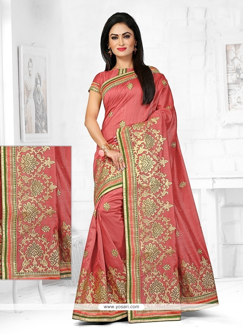 Ravishing Peach Designer Traditional Saree
