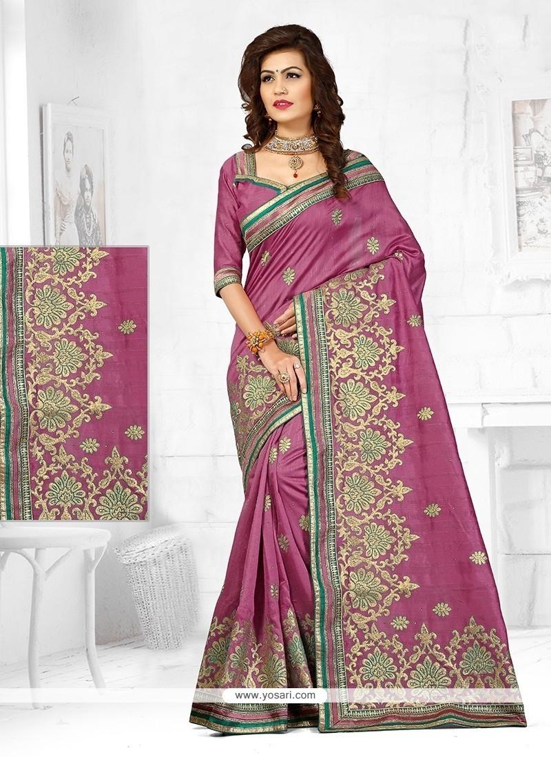 Invigorating Resham Work Purple Designer Traditional Saree