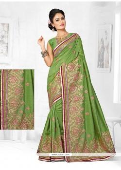 Sumptuous Zari Work Green Bhagalpuri Silk Designer Traditional Saree