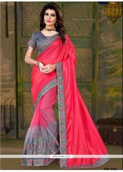 Beauteous Art Silk Grey And Hot Pink Patch Border Work Traditional Saree