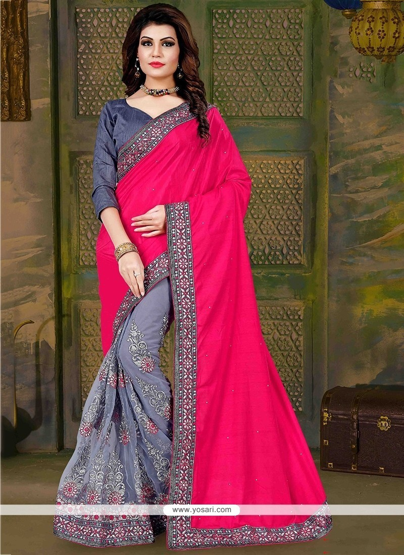 Distinguishable Grey And Hot Pink Embroidered Work Art Silk Traditional Saree