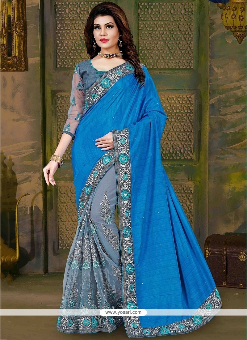 Adorable Embroidered Work Blue And Grey Traditional Saree