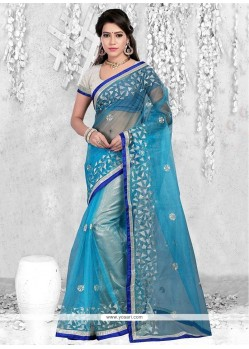Ethnic Patch Border Work Net Casual Saree