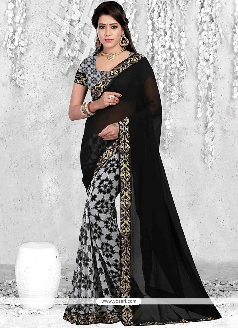 Blooming Black Faux Georgette Casual Saree