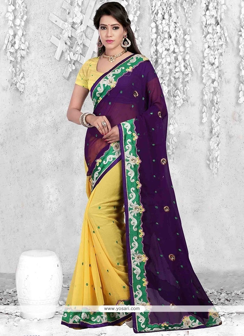 Versatile Purple And Yellow Lace Work Casual Saree