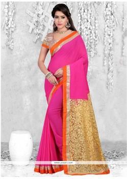 Hypnotizing Hot Pink Lace Work Casual Saree