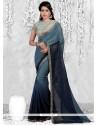 Fantastic Blue Lace Work Casual Saree