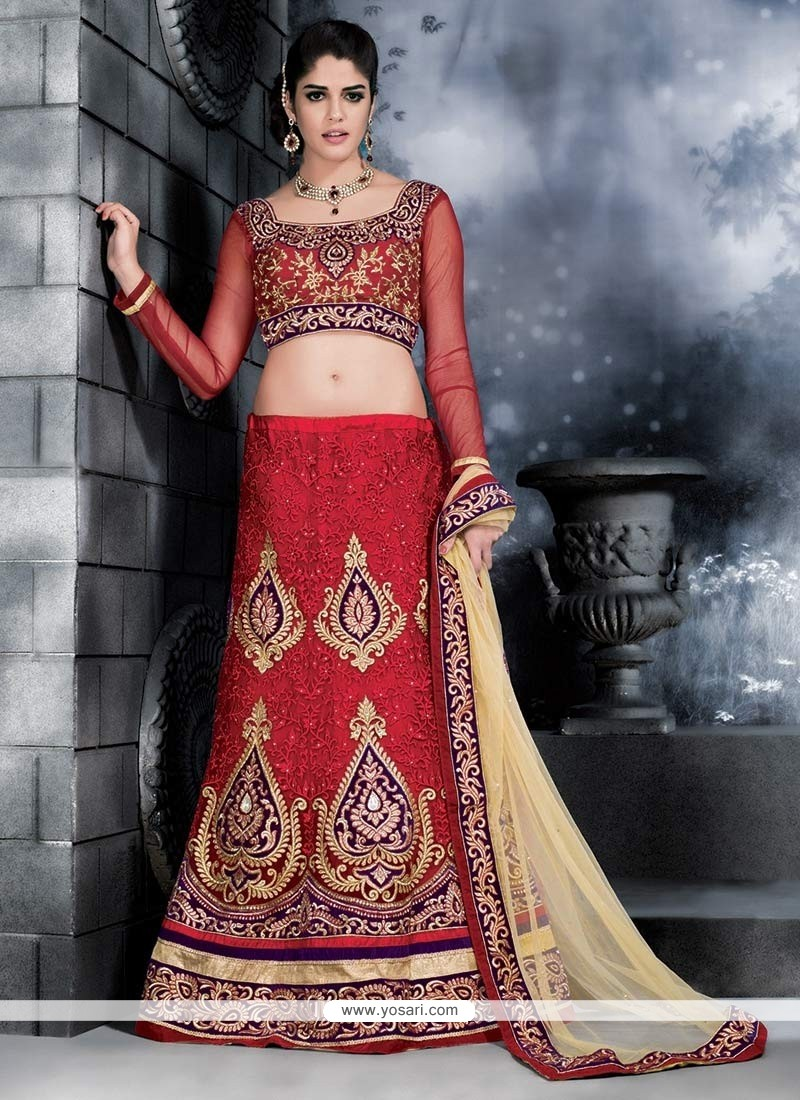 Red Net Wedding Lehenga Choli