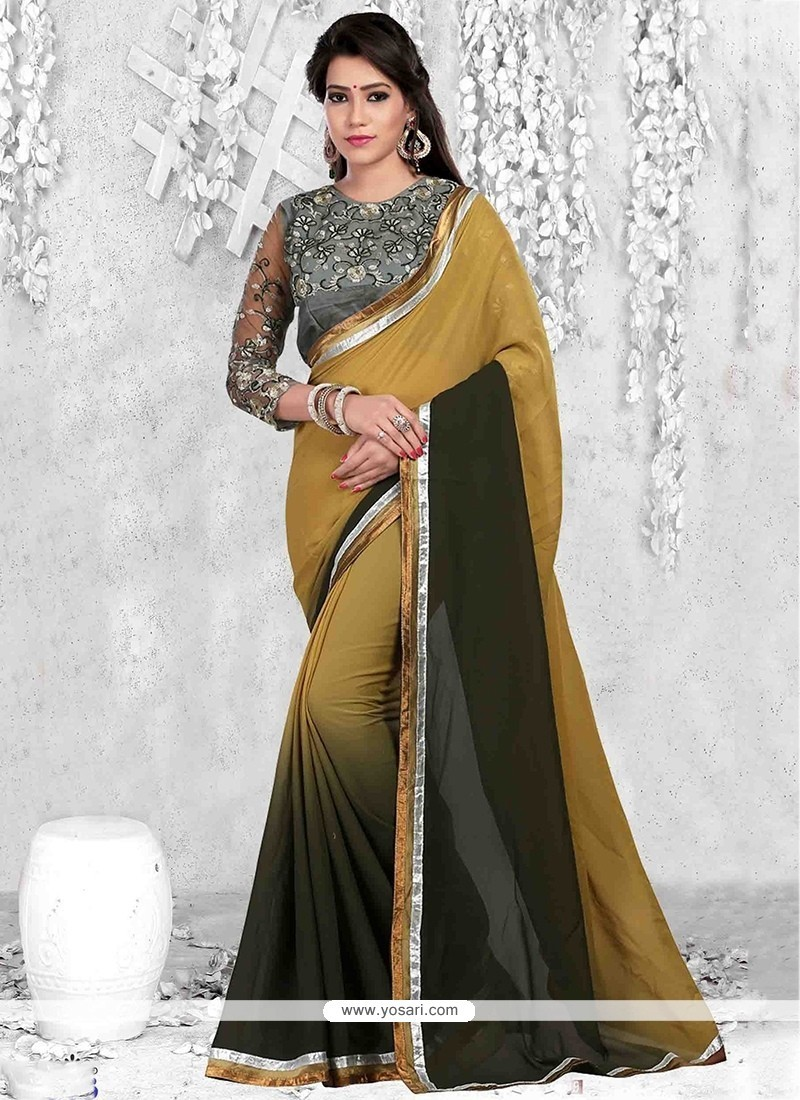 Spectacular Faux Georgette Print Work Casual Saree