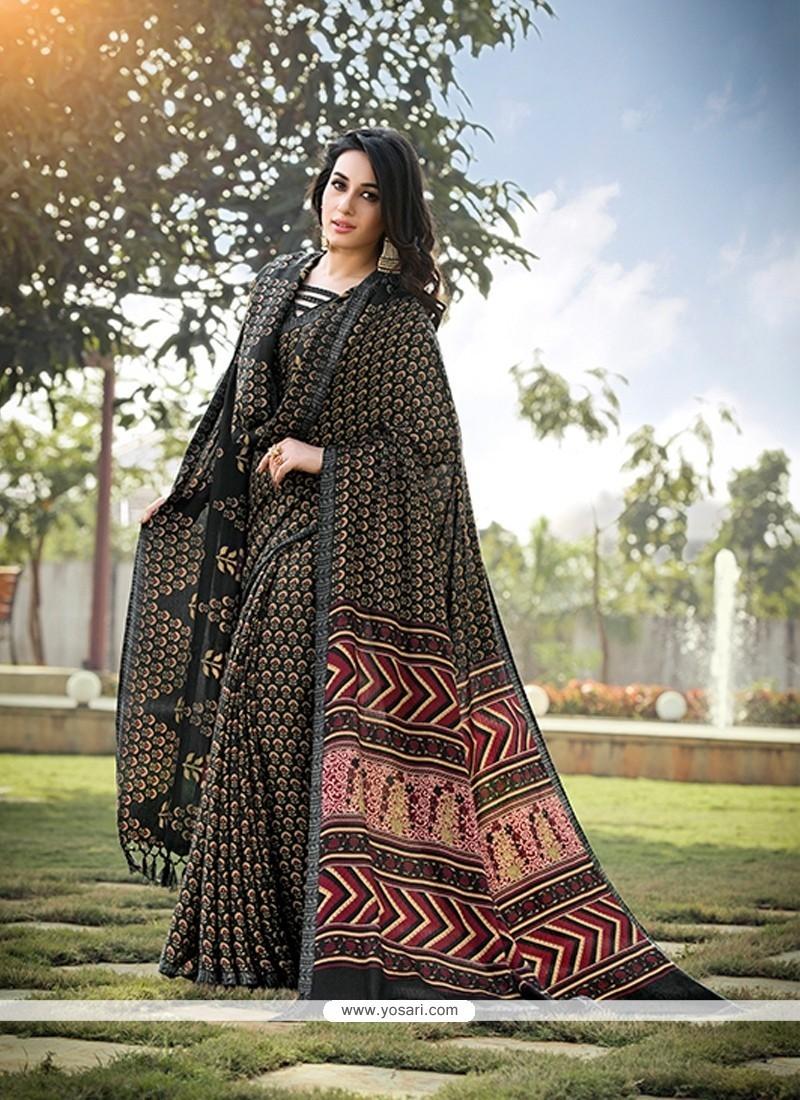 Mystical Pashnima Silk Multi Colour Printed Saree