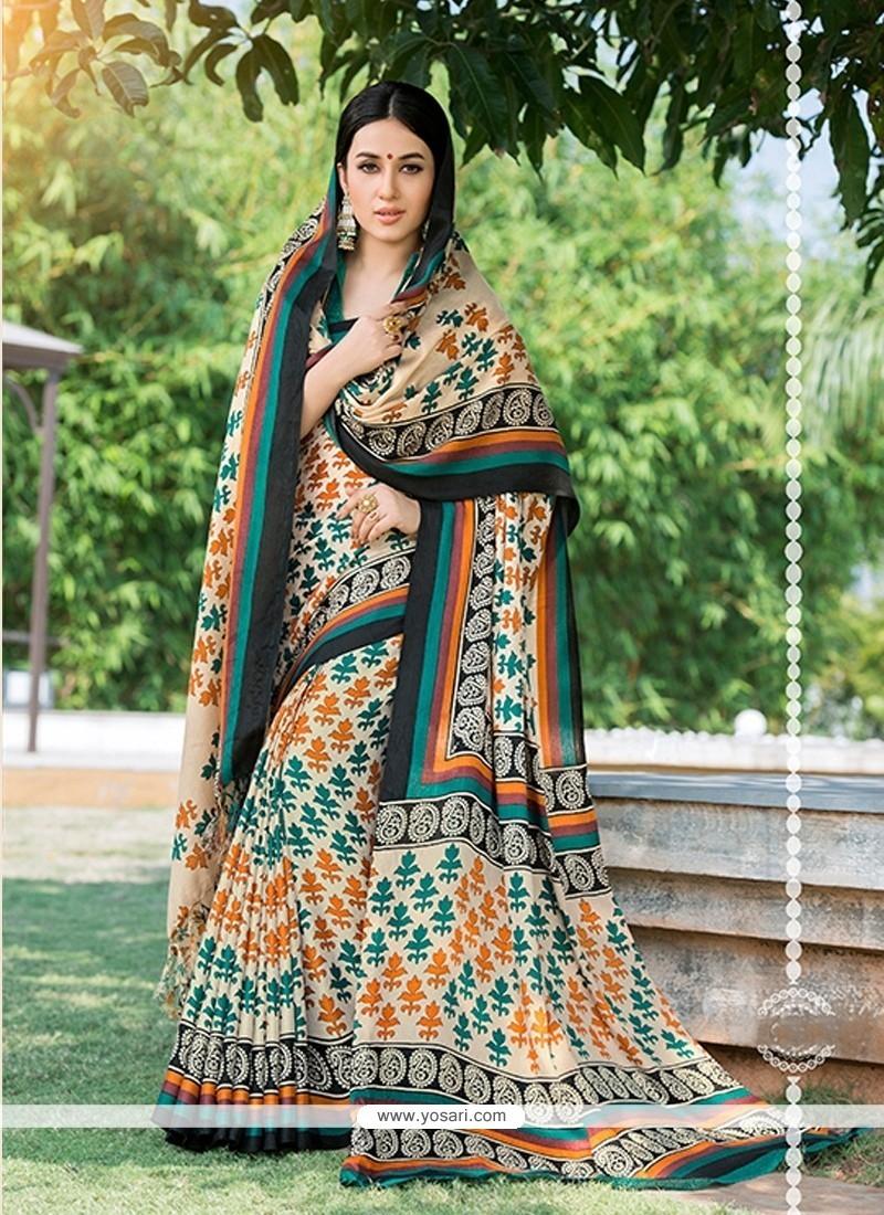 Gleaming Pashnima Silk Multi Colour Print Work Printed Saree