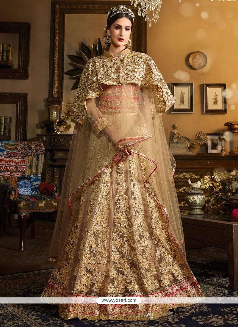 Lovely Embroidered Work Beige Banglori Silk Designer Floor Length Salwar Suit