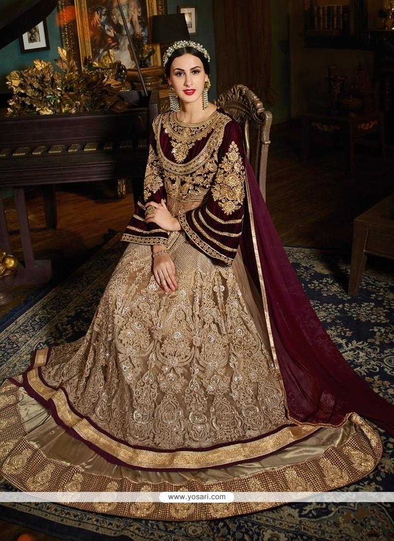 Princely Patch Border Work Velvet Designer Floor Length Suit