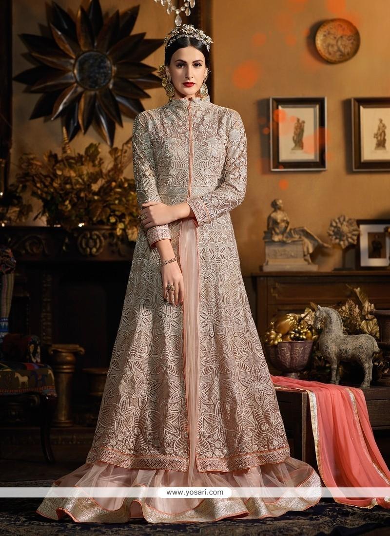 Mystical Pink Resham Work Designer Floor Length Salwar Suit