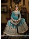 Dilettante Net Turquoise Designer Palazzo Salwar Kameez