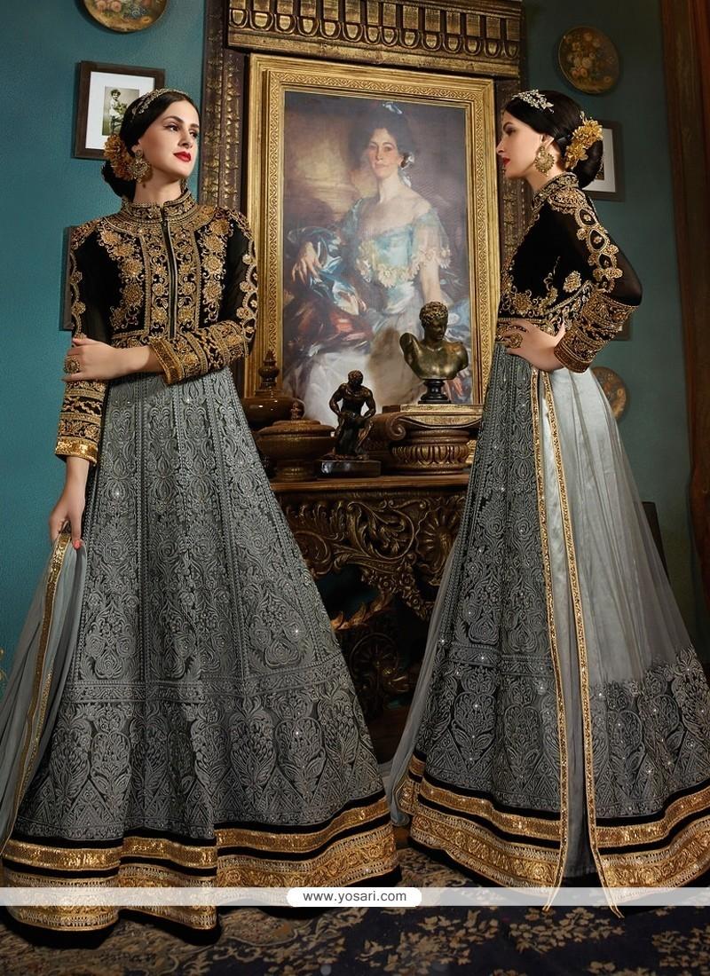 Imposing Embroidered Work Grey Designer Floor Length Suit