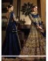 Conspicuous Banarasi Silk Navy Blue Designer Floor Length Suit