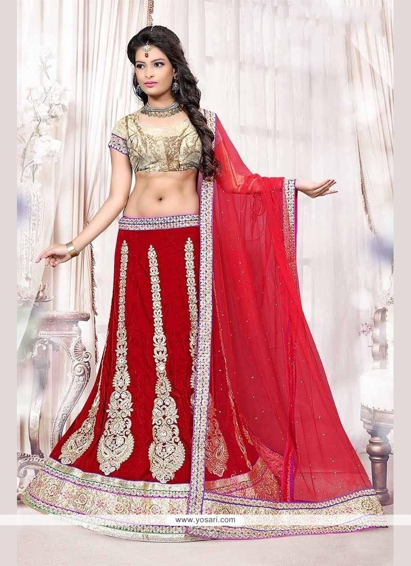 Vibrant Resham Work Red Velvet Lehenga Choli