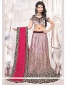 Festal Lavender And Pink Resham Work Net Lehenga Choli