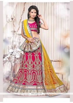 Stylish Fancy Fabric Hot Pink Lehenga Choli