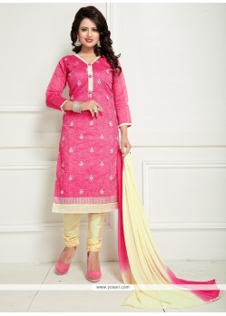 Mesmeric Embroidered Work Pink Churidar Suit