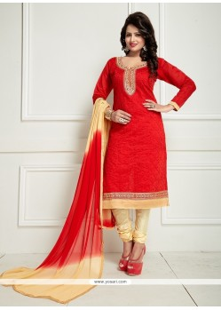 Baronial Embroidered Work Chanderi Cream And Red Churidar Suit