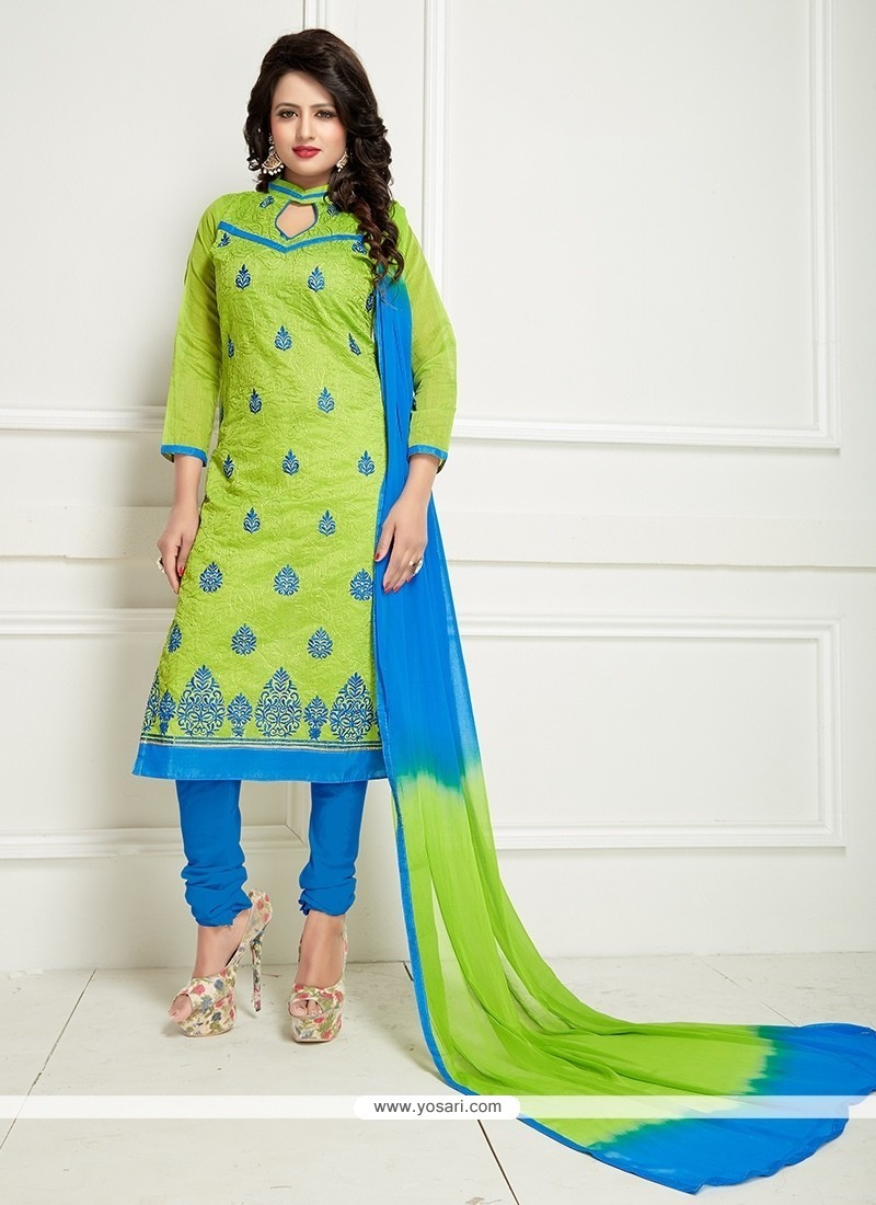 Praiseworthy Embroidered Work Blue And Green Chanderi Churidar Suit
