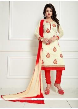 Exceptional Chanderi Embroidered Work Churidar Suit