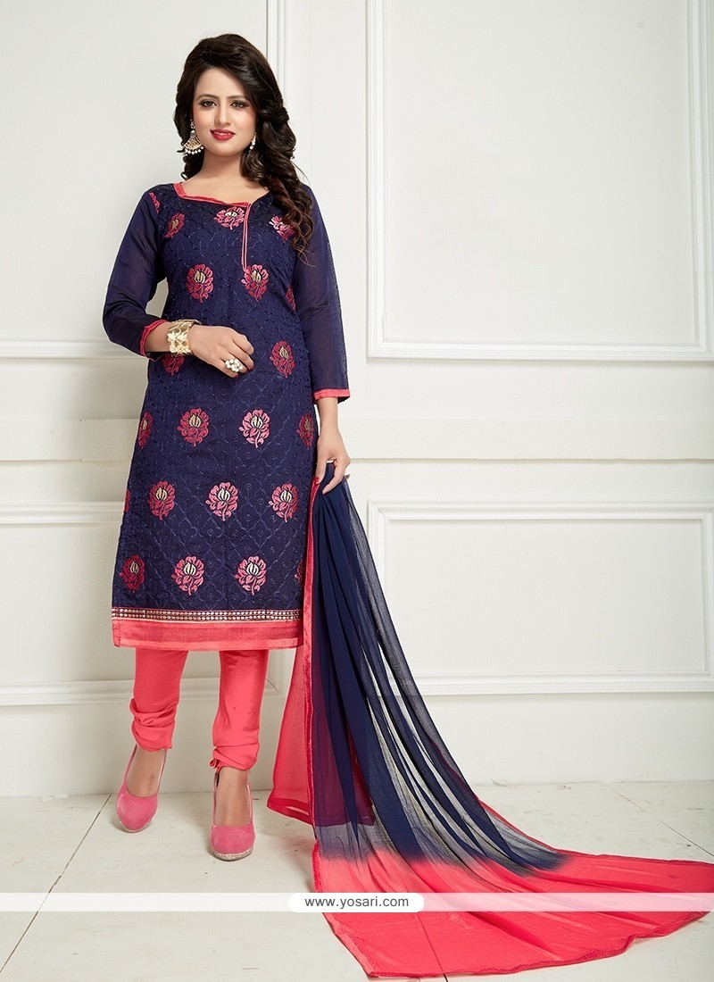 Beauteous Chanderi Navy Blue And Rose Pink Embroidered Work Churidar Suit