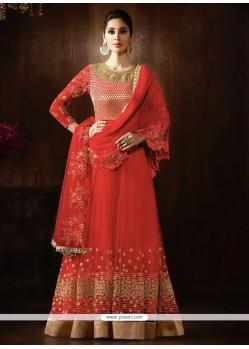 Elite Embroidered Work Red Net Anarkali Salwar Kameez