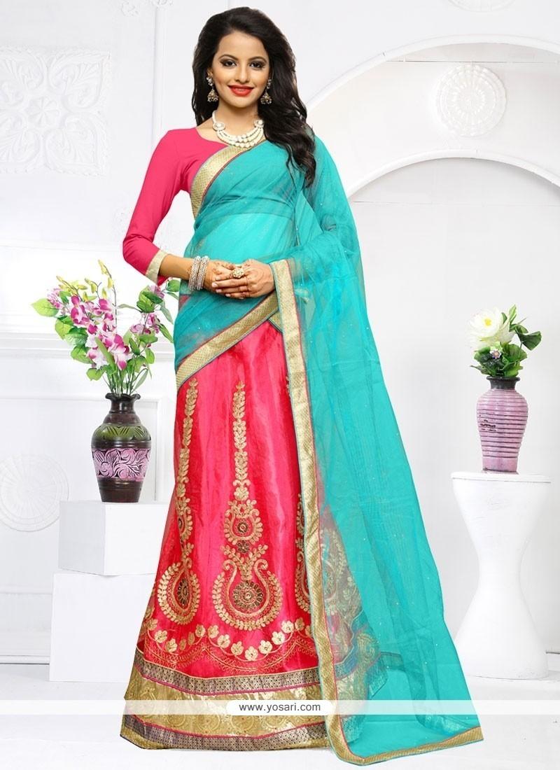 Masterly Net Rose Pink Embroidered Work Lehenga Choli