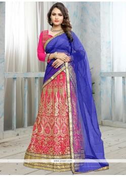 Intrinsic Patch Border Work Pink Net Lehenga Choli