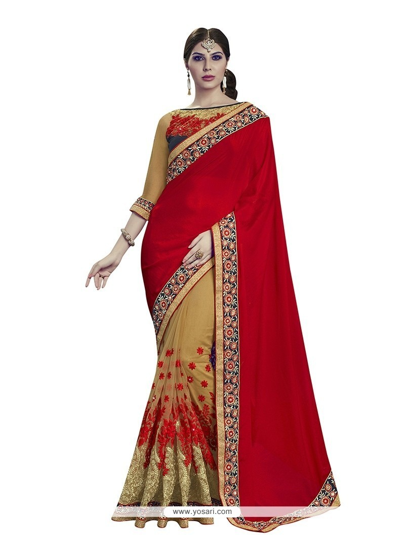 Blissful Beige And Red Designer Half N Half Saree