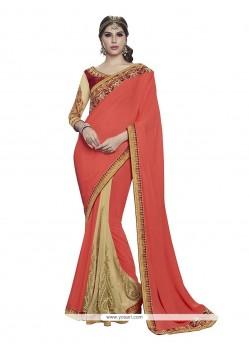 Charming Beige And Orange Net Designer Half N Half Saree