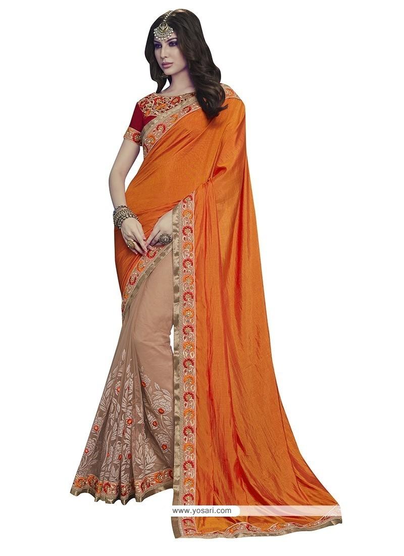 Beige And Orange Embroidered Work Net Designer Half N Half Saree