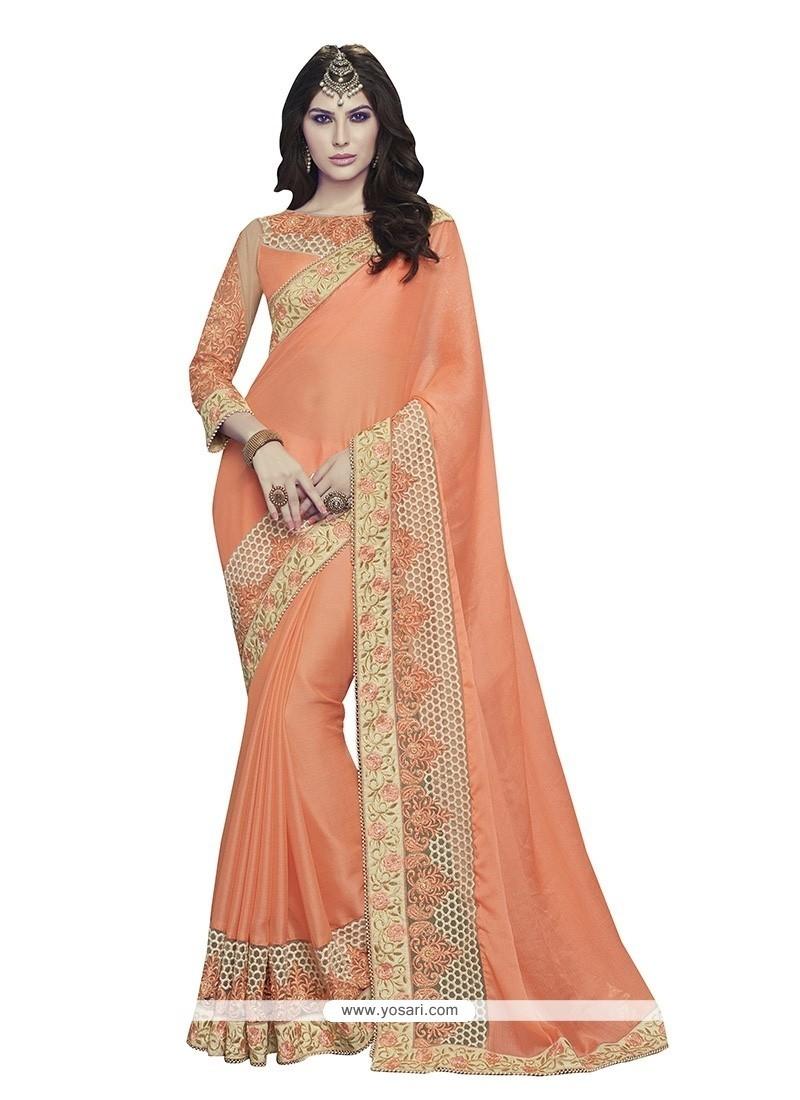 Noble Orange Classic Designer Saree