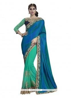 Phenomenal Blue And Sea Green Embroidered Work Georgette Designer Half N Half Saree