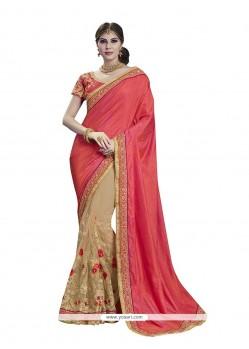 Distinctively Beige And Peach Embroidered Work Designer Half N Half Saree