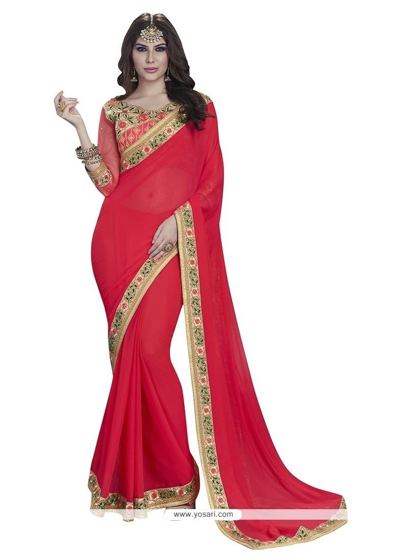 Patch Border Faux Chiffon Classic Designer Saree In Red