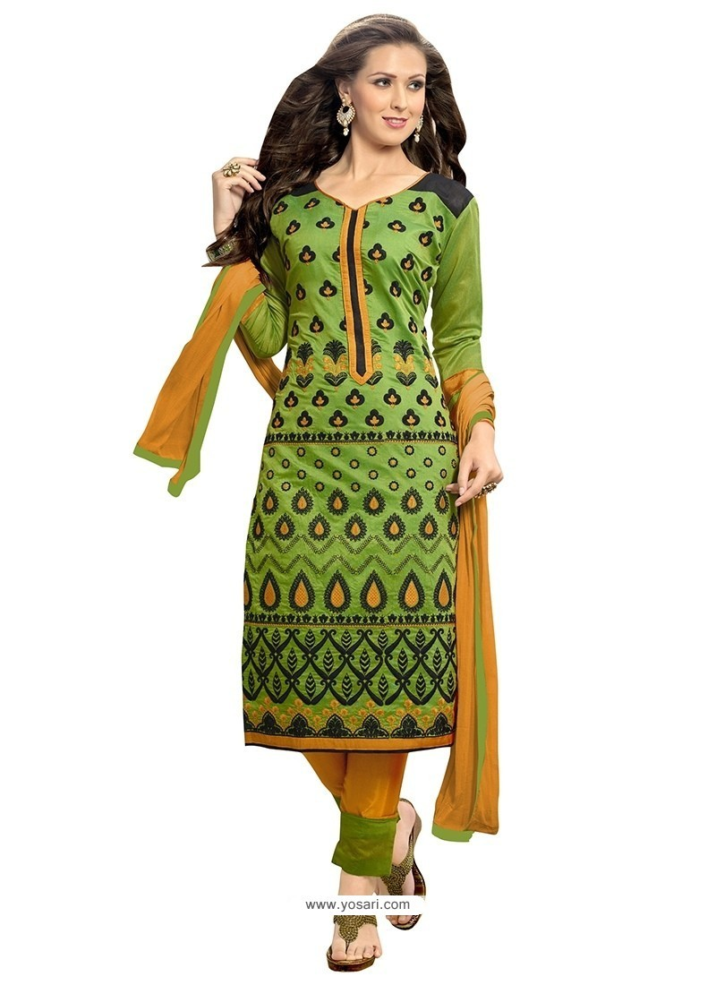 Mod Chanderi Green Churidar Suit