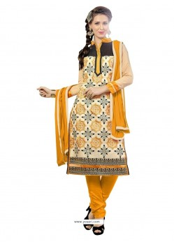 Extraordinary Embroidered Work Chanderi Churidar Suit