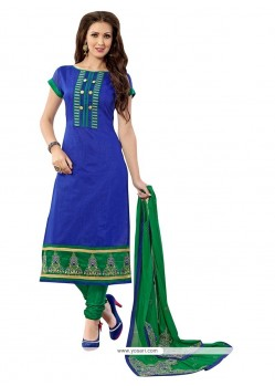 Versatile Blue And Green Chanderi Churidar Suit