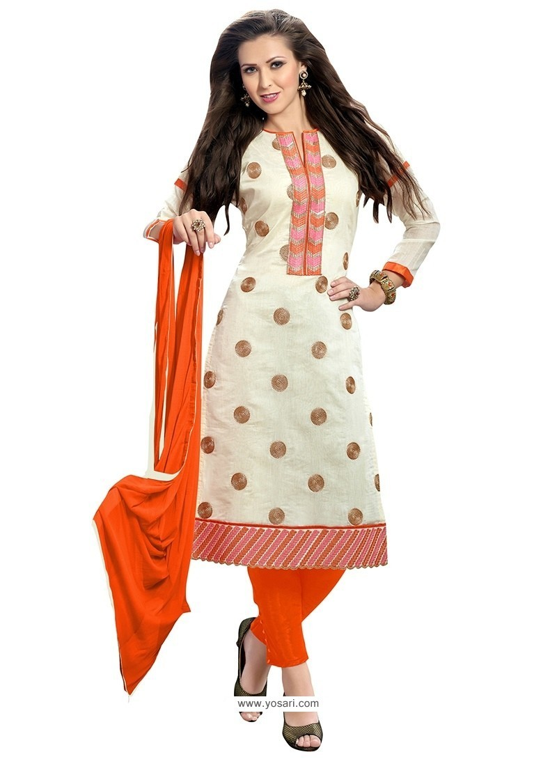Integral Off White And Orange Embroidered Work Churidar Suit