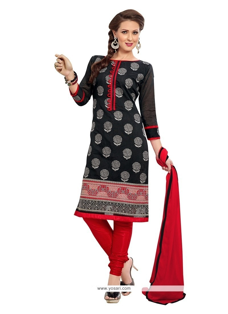 Glamorous Embroidered Work Black And Red Chanderi Churidar Suit