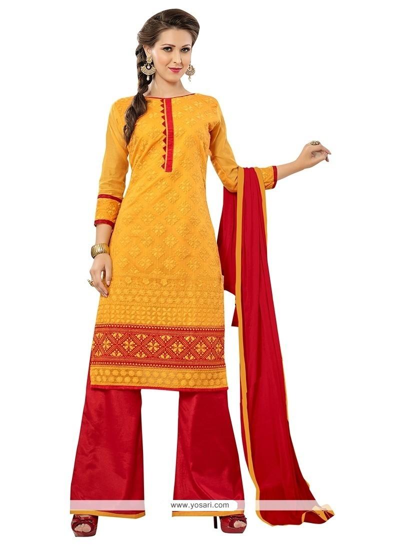 Cherubic Red And Yellow Chanderi Palazzo Suit