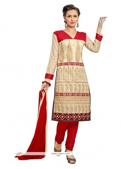 Sterling Embroidered Work Cream And Red Churidar Suit
